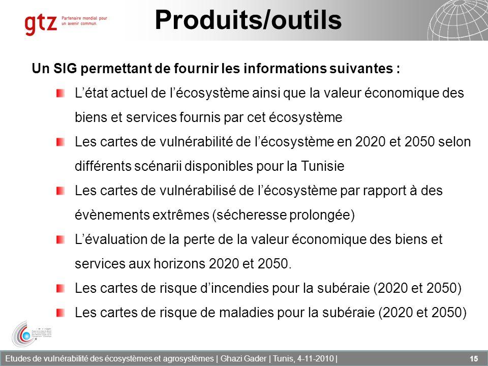 Produits/outilsUn SIG permettant de fournir les informations suivantes :