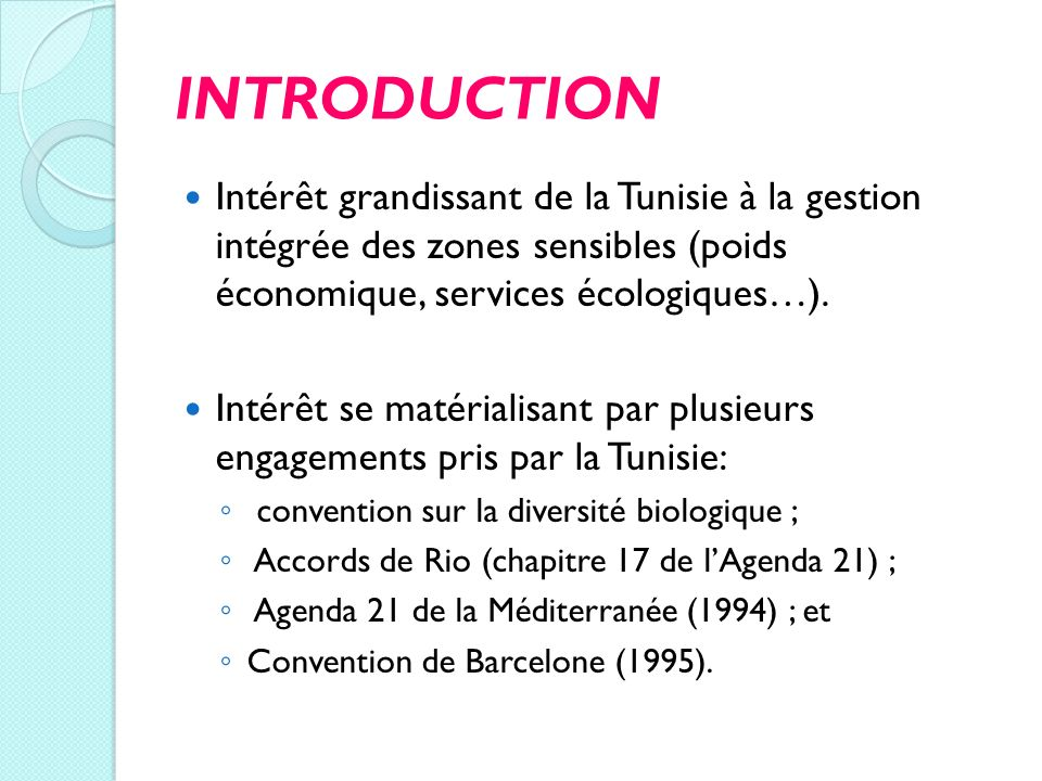 INTRODUCTION Intérêt grandissant de la Tunisie à la gestion intégrée des zones sensibles (poids économique, services écologiques…).