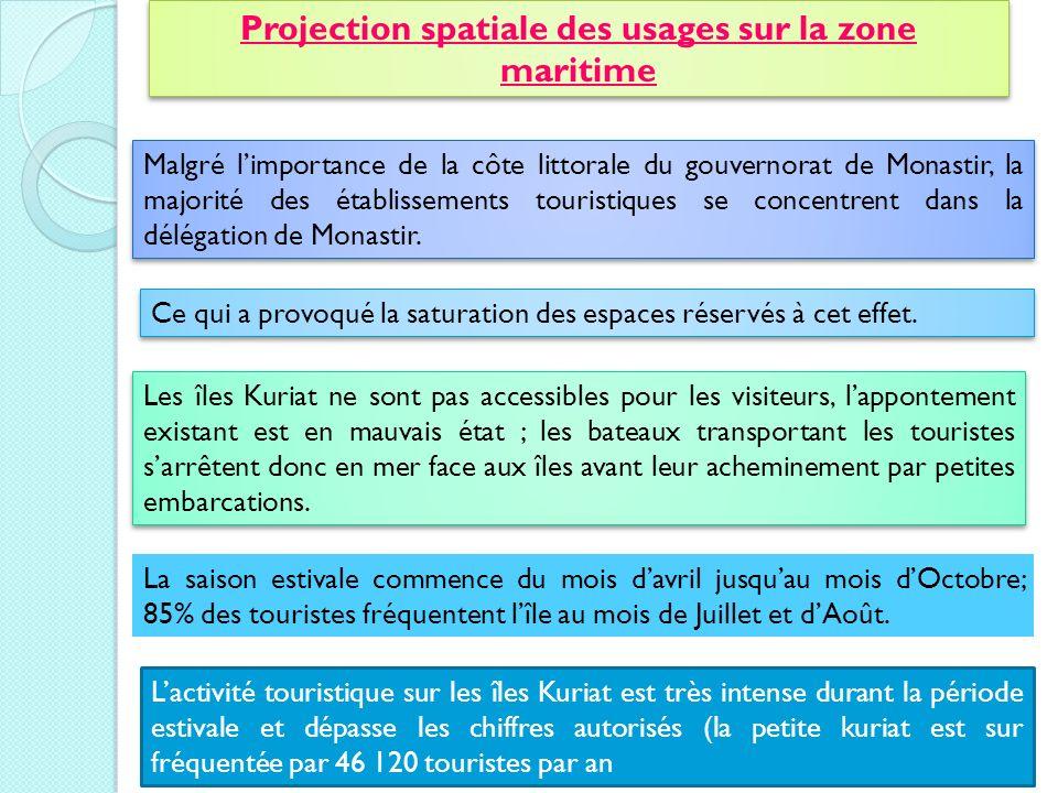 Projection spatiale des usages sur la zone maritime
