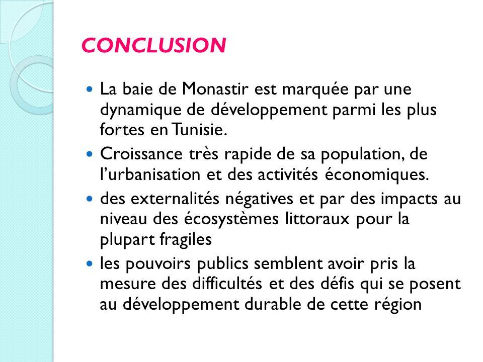 CONCLUSION La baie de Monastir est marquée par une dynamique de développement parmi les plus fortes en Tunisie.
