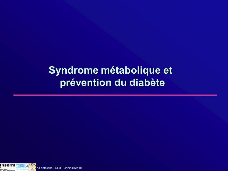 Syndrome métabolique et prévention du diabète