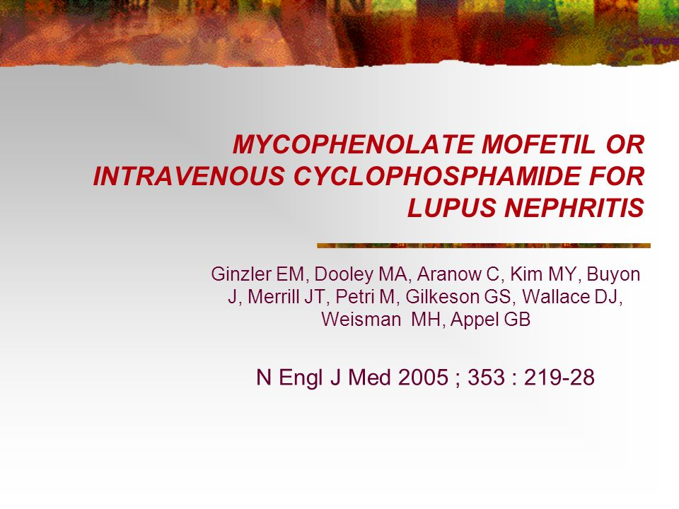 MYCOPHENOLATE MOFETIL OR INTRAVENOUS CYCLOPHOSPHAMIDE FOR LUPUS NEPHRITIS