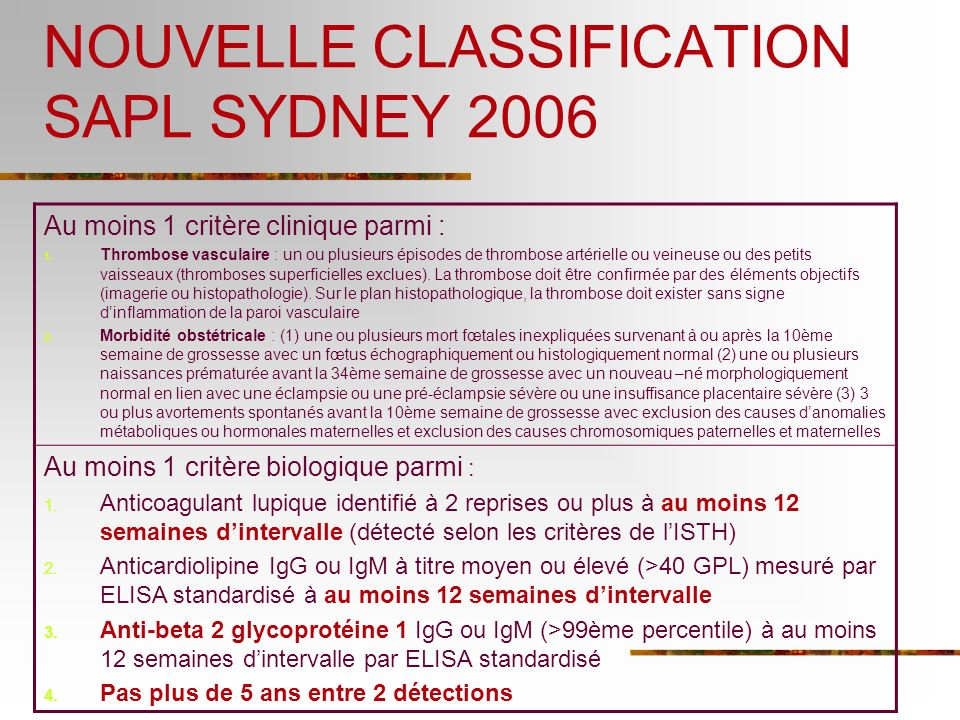 NOUVELLE CLASSIFICATION SAPL SYDNEY 2006