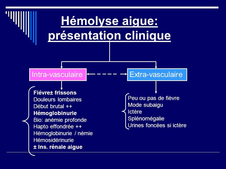 Hémolyse aigue: présentation clinique