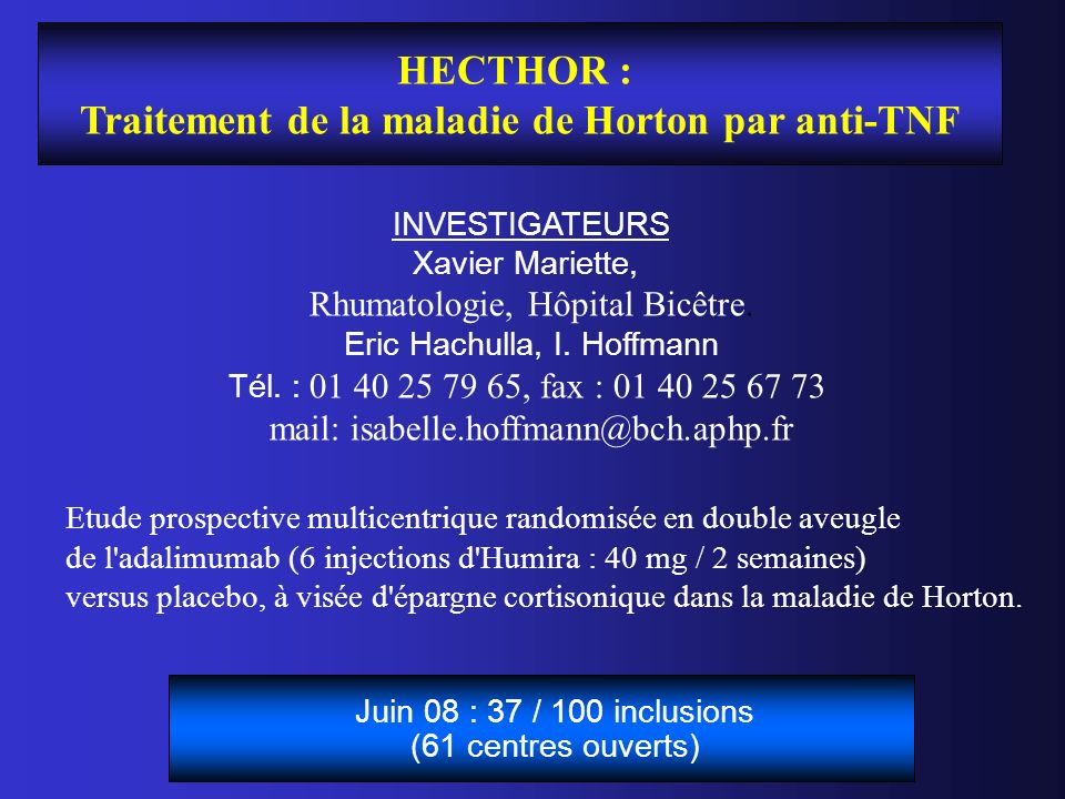 Traitement de la maladie de Horton par anti-TNF