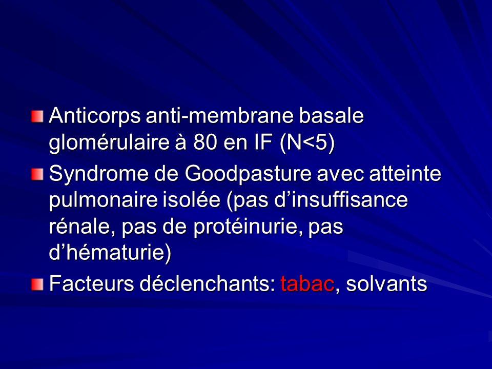 Anticorps anti-membrane basale glomérulaire à 80 en IF (N<5)