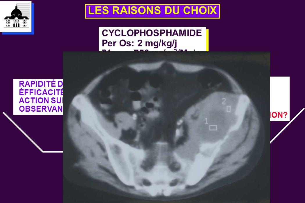 LES RAISONS DU CHOIX CYCLOPHOSPHAMIDE Per Os: 2 mg/kg/j