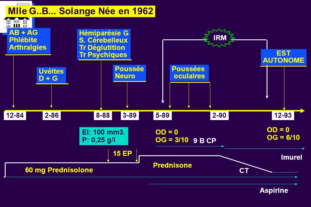 Mlle G..B... Solange Née en 1962 AB + AG Phlébite Arthralgies