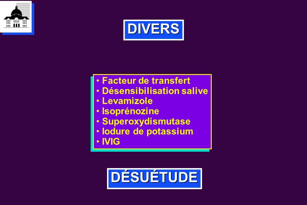 DIVERS DÉSUÉTUDE Facteur de transfert Désensibilisation salive