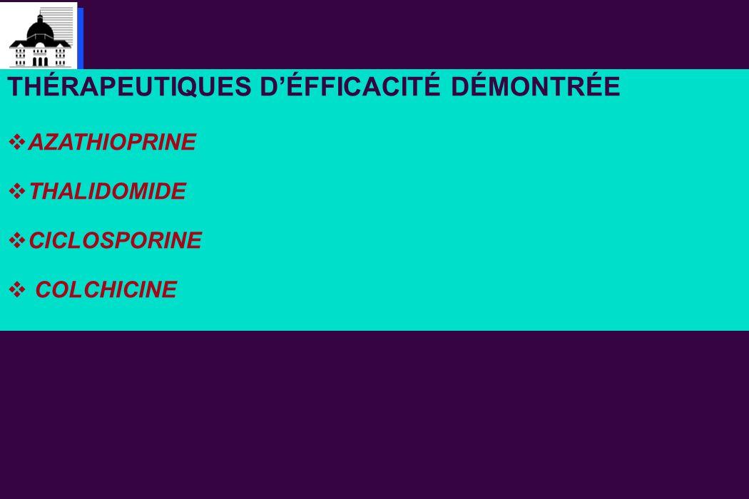 THÉRAPEUTIQUES D'ÉFFICACITÉ DÉMONTRÉE