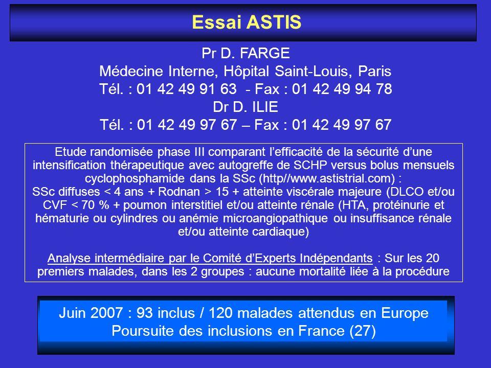 Essai ASTIS Pr D. FARGE Médecine Interne, Hôpital Saint-Louis, Paris