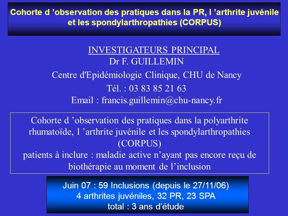 INVESTIGATEURS PRINCIPAL Dr F. GUILLEMIN