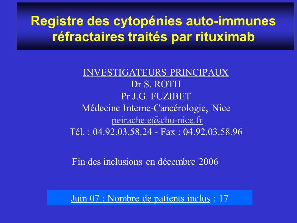 Registre des cytopénies auto-immunes réfractaires traités par rituximab