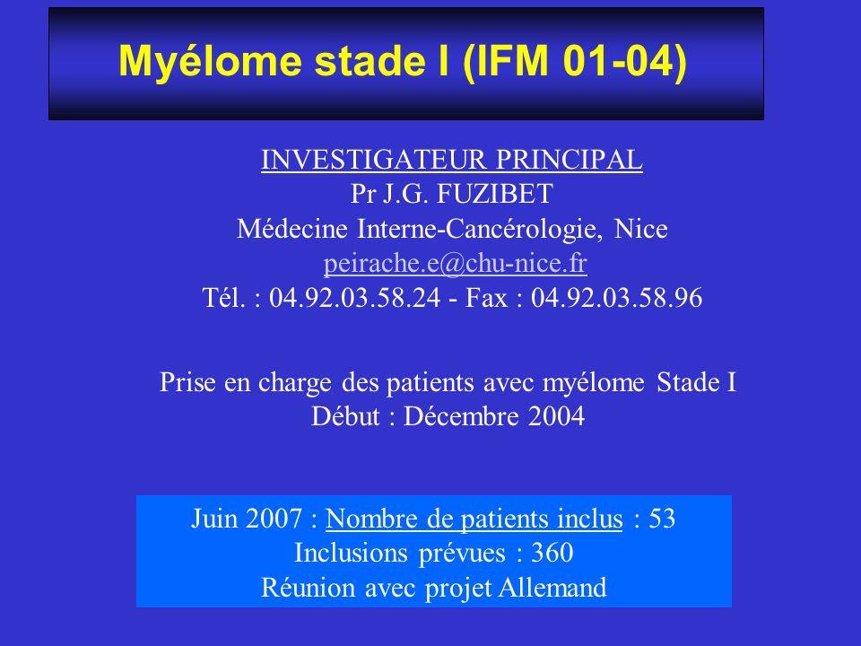 Myélome stade I (IFM 01-04) INVESTIGATEUR PRINCIPAL Pr J.G. FUZIBET