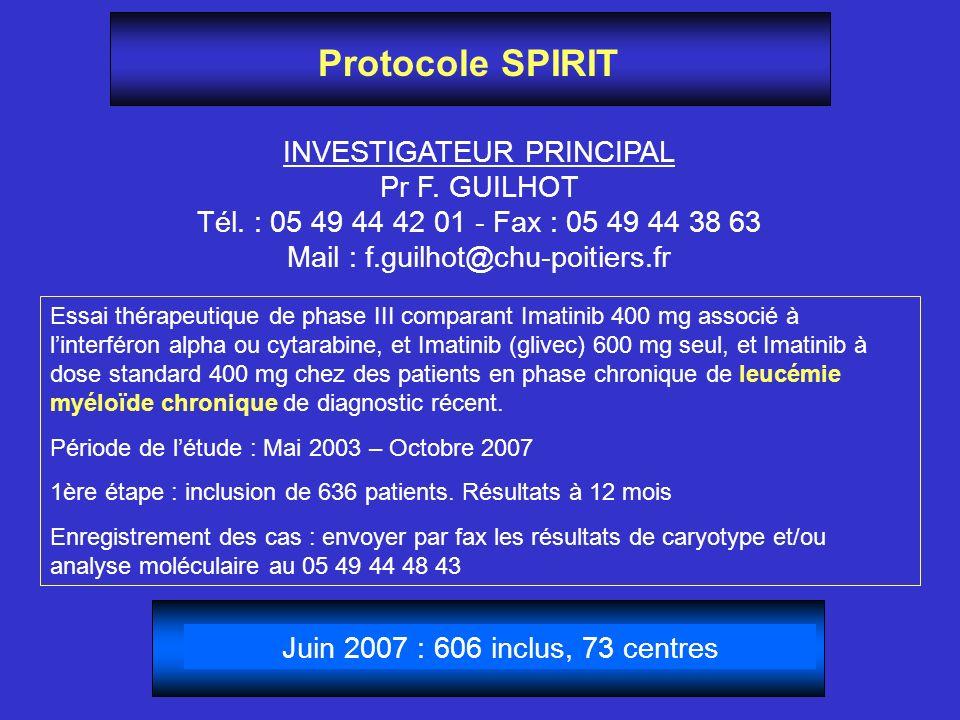 Protocole SPIRIT INVESTIGATEUR PRINCIPAL Pr F. GUILHOT
