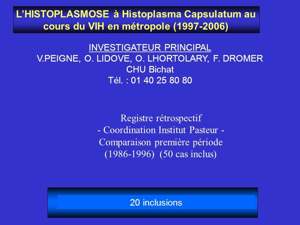 Registre rétrospectif - Coordination Institut Pasteur -