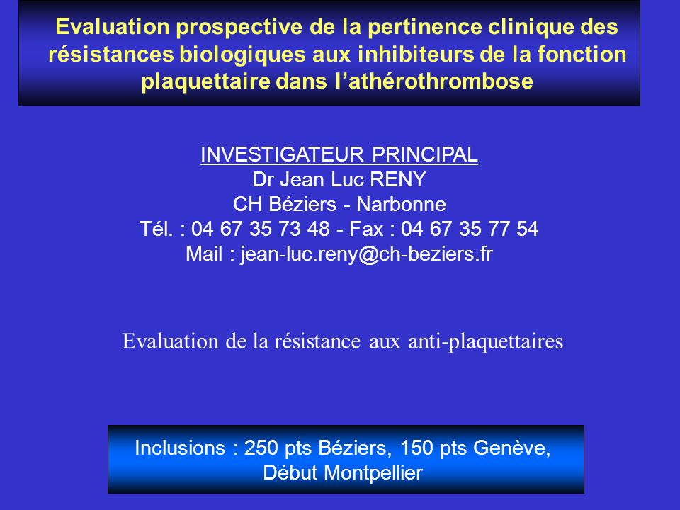 Evaluation de la résistance aux anti-plaquettaires