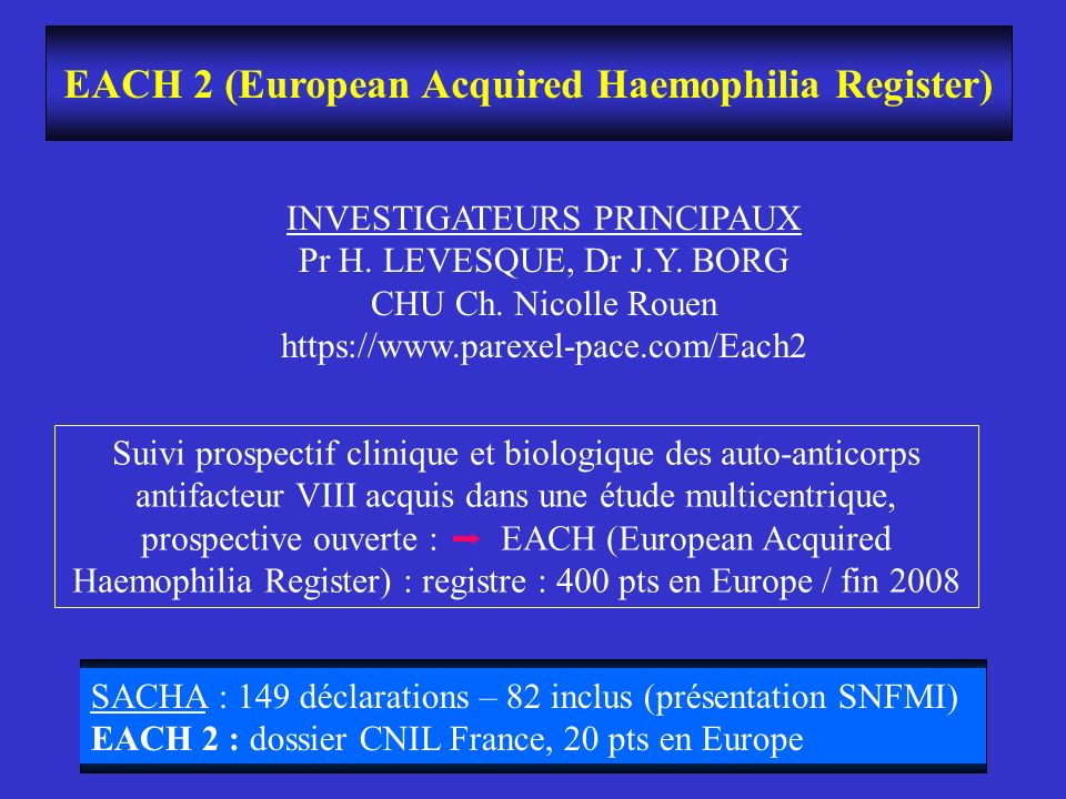 EACH 2 (European Acquired Haemophilia Register)