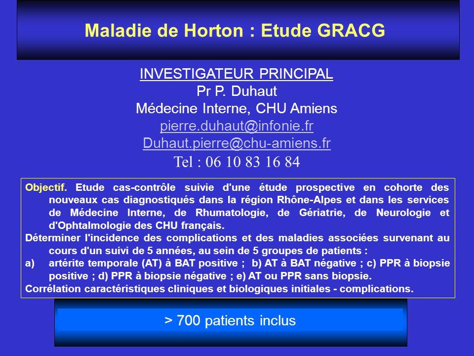 Maladie de Horton : Etude GRACG