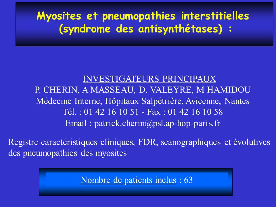Myosites et pneumopathies interstitielles