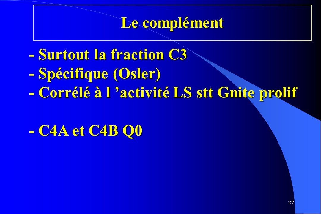 Le complément - Surtout la fraction C3 - Spécifique (Osler) - Corrélé à l 'activité LS stt Gnite prolif - C4A et C4B Q0.