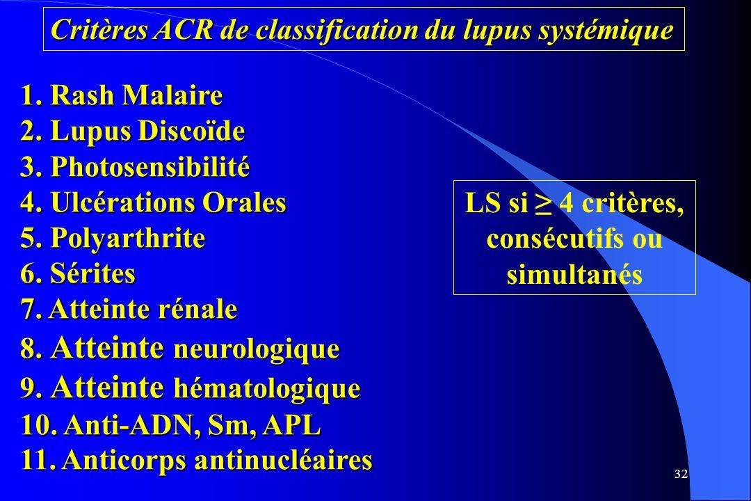 LS si ≥ 4 critères, consécutifs ou simultanés