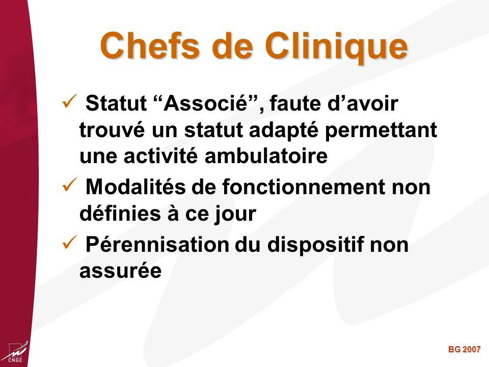 Chefs de Clinique Statut Associé , faute d'avoir trouvé un statut adapté permettant une activité ambulatoire.