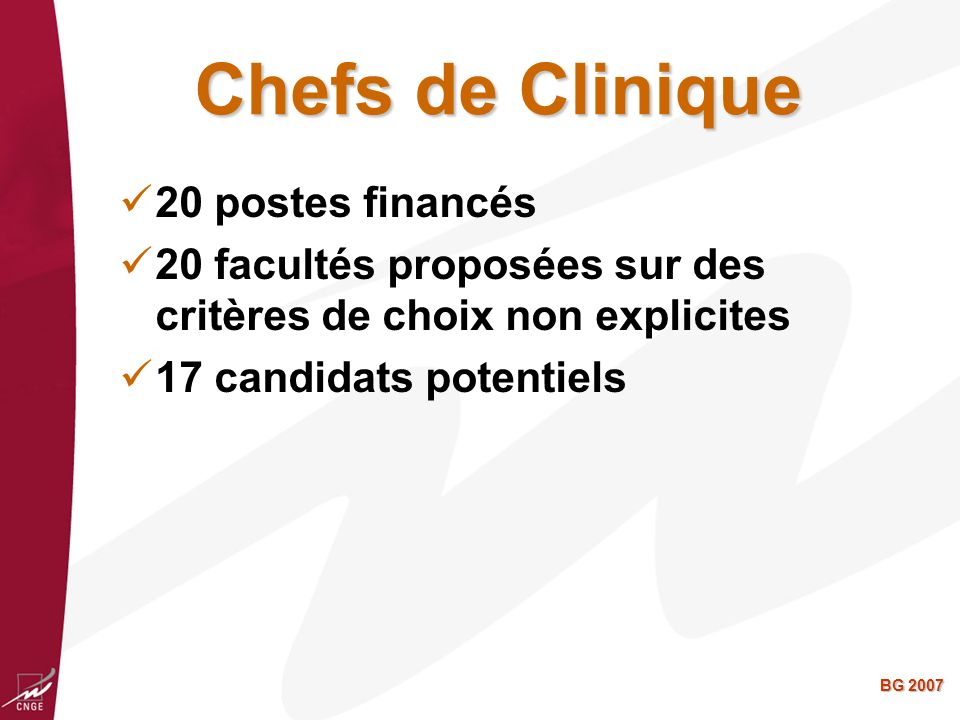 Chefs de Clinique 20 postes financés