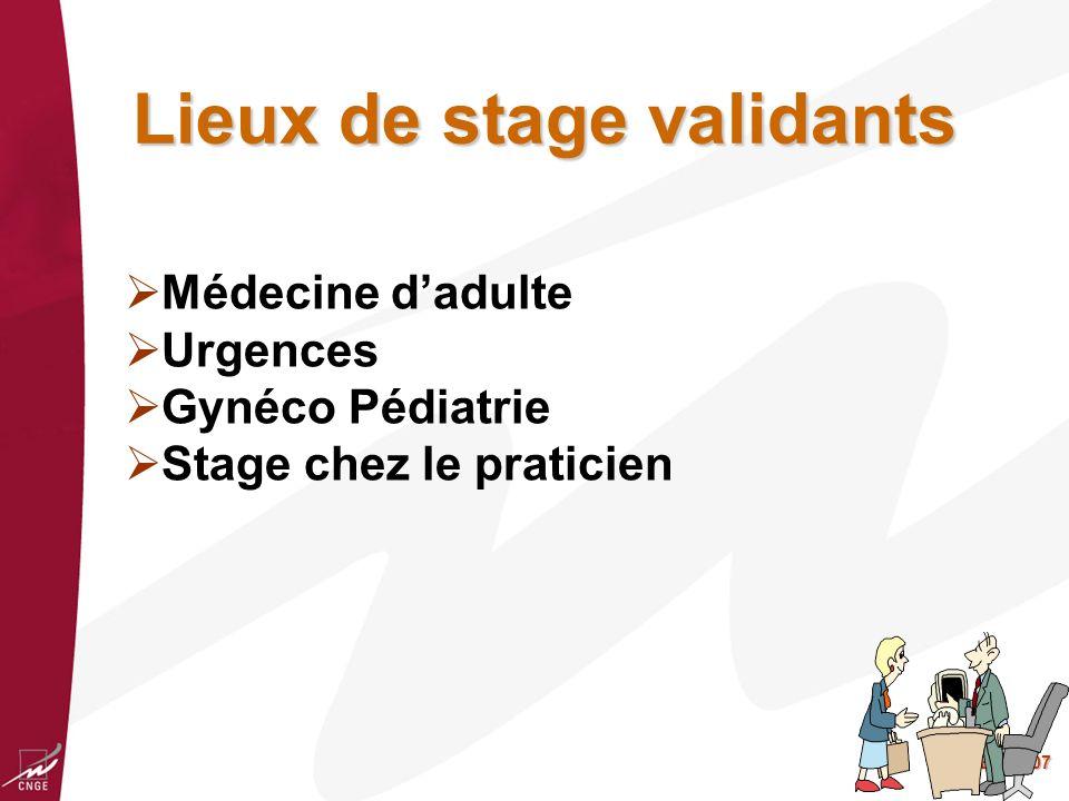 Lieux de stage validants
