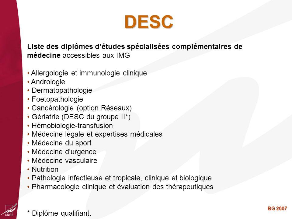 DESC Liste des diplômes d'études spécialisées complémentaires de médecine accessibles aux IMG. Allergologie et immunologie clinique.