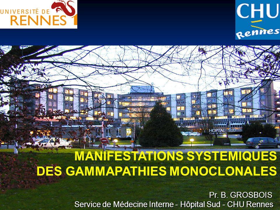 MANIFESTATIONS SYSTEMIQUES DES GAMMAPATHIES MONOCLONALES