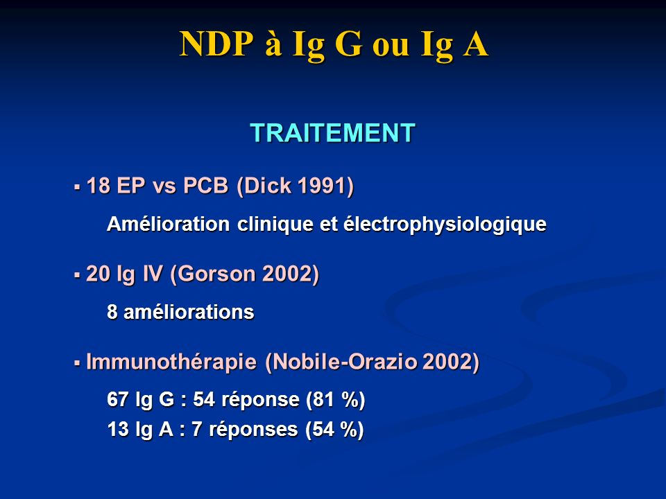 NDP à Ig G ou Ig A TRAITEMENT 18 EP vs PCB (Dick 1991)