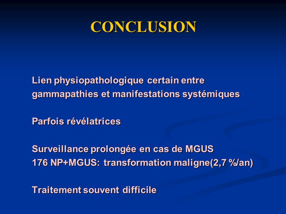 CONCLUSION Lien physiopathologique certain entre