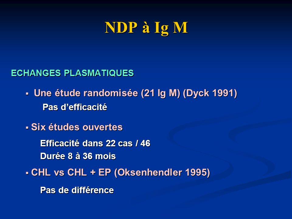 NDP à Ig M Une étude randomisée (21 Ig M) (Dyck 1991)