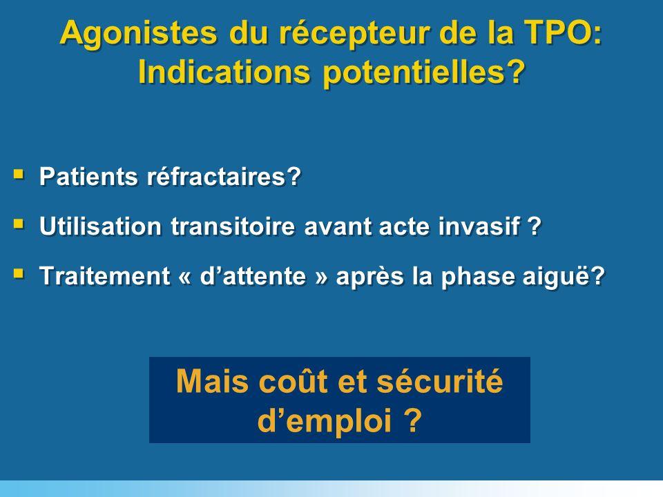 Agonistes du récepteur de la TPO: Indications potentielles