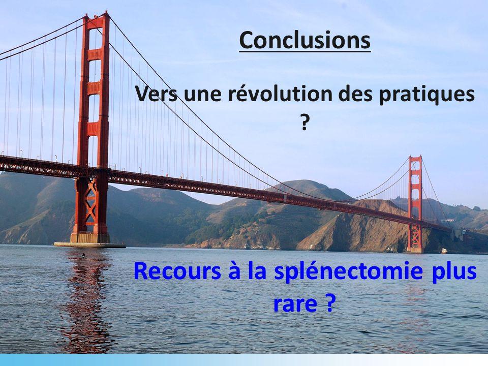 Conclusions Recours à la splénectomie plus rare