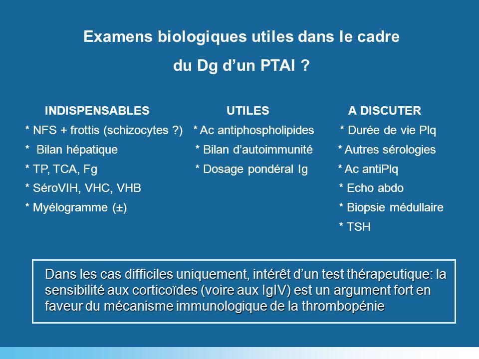 Examens biologiques utiles dans le cadre