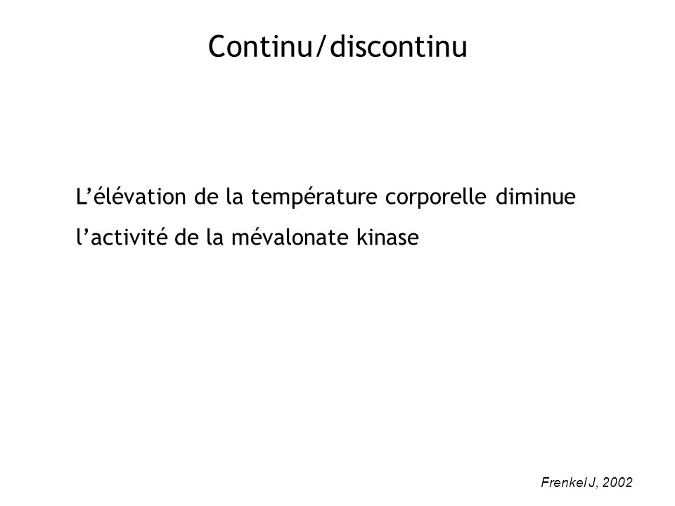 Continu/discontinu L'élévation de la température corporelle diminue