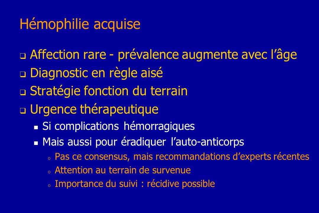 Hémophilie acquise Affection rare - prévalence augmente avec l'âge