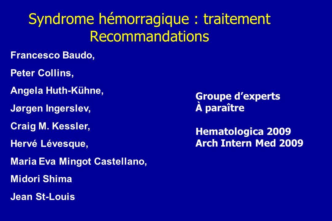 Syndrome hémorragique : traitement Recommandations
