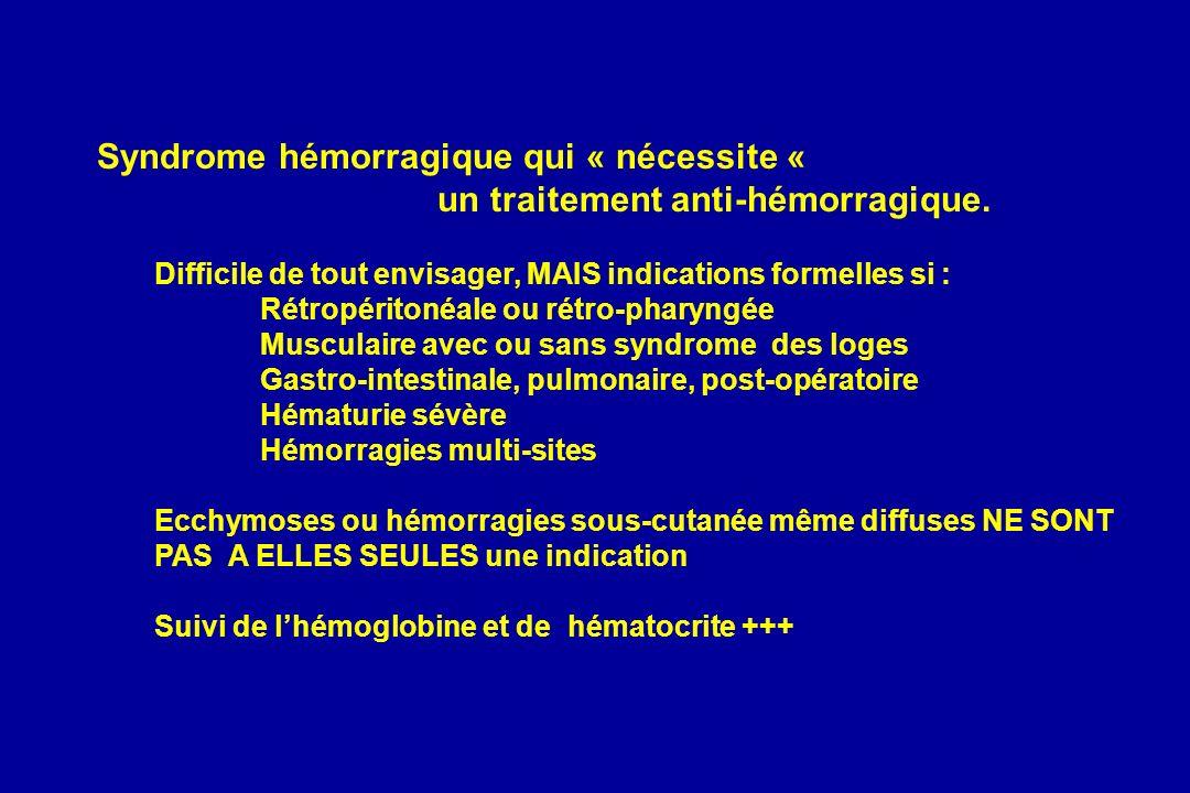 Syndrome hémorragique qui « nécessite «