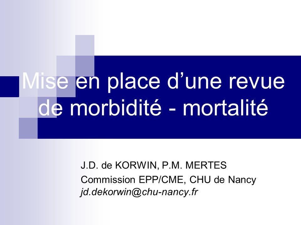 Mise en place d'une revue de morbidité - mortalité