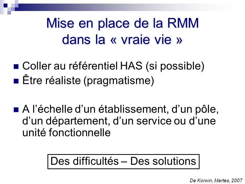 Mise en place de la RMM dans la « vraie vie »