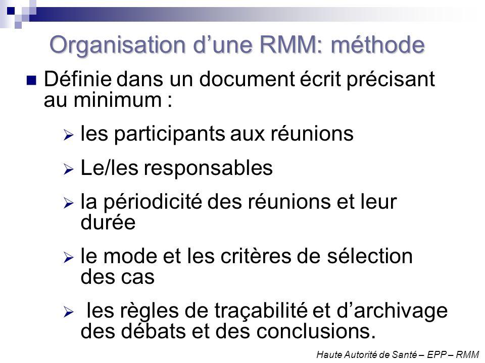Organisation d'une RMM: méthode