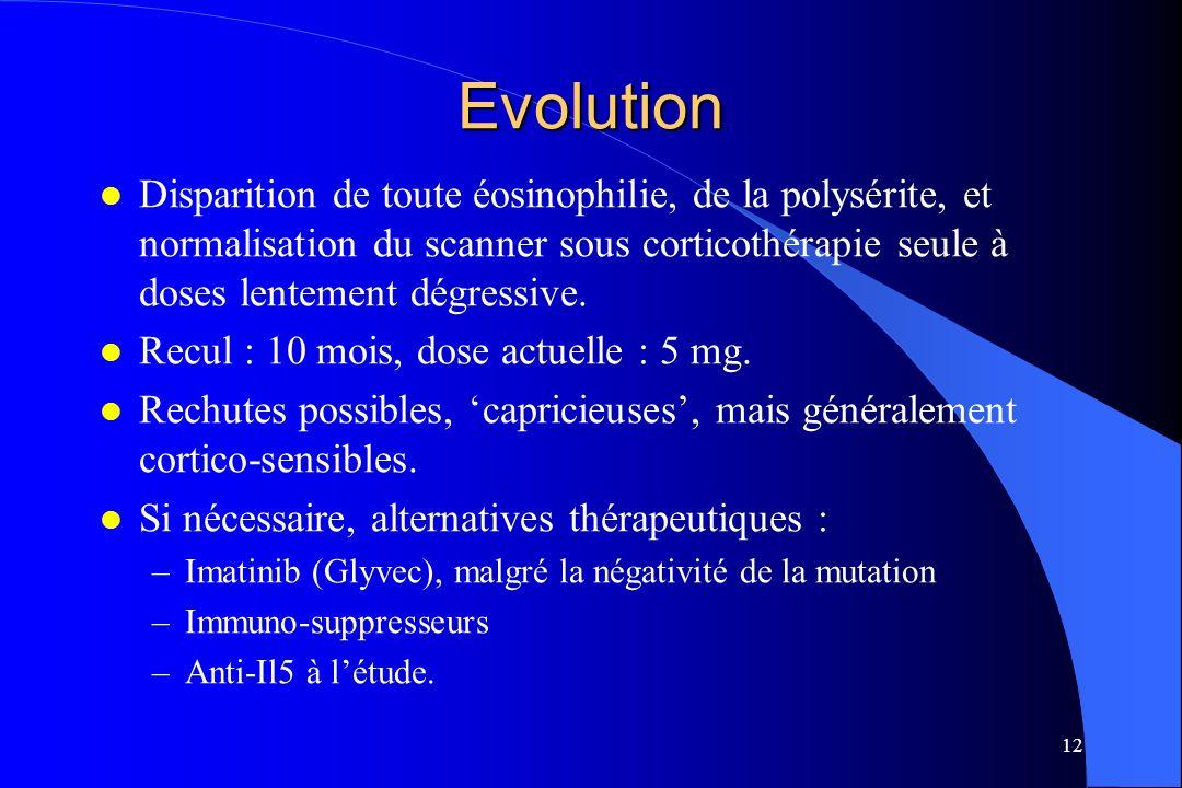 Evolution Disparition de toute éosinophilie, de la polysérite, et normalisation du scanner sous corticothérapie seule à doses lentement dégressive.