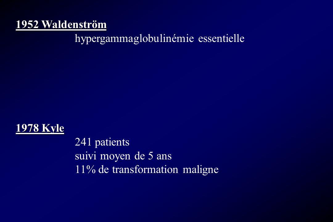 1952 Waldenström hypergammaglobulinémie essentielle. 1978 Kyle. 241 patients. suivi moyen de 5 ans.