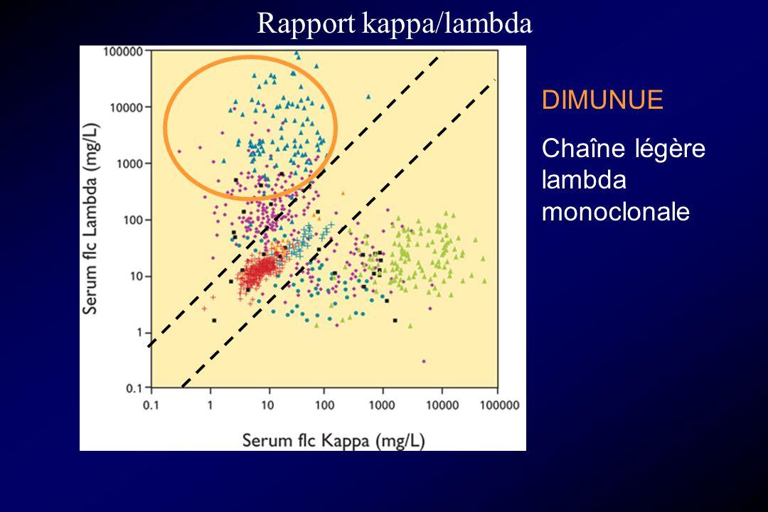 Rapport kappa/lambda DIMUNUE Chaîne légère lambda monoclonale