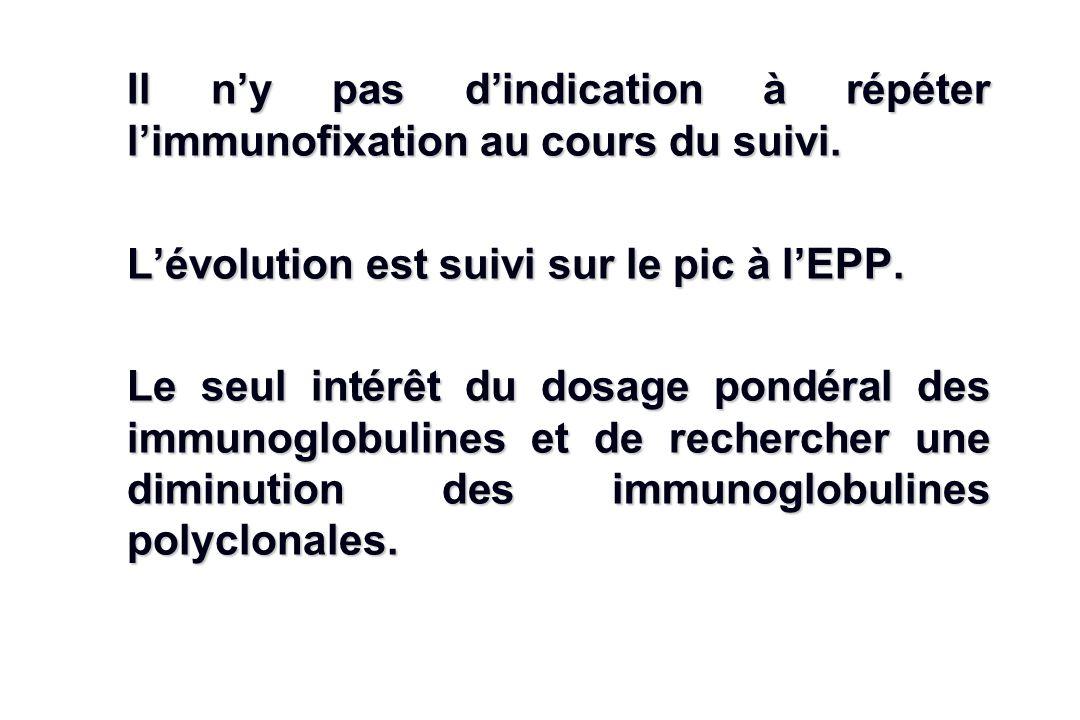 Il n'y pas d'indication à répéter l'immunofixation au cours du suivi.