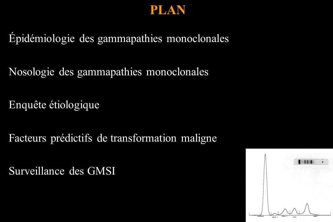 PLAN Épidémiologie des gammapathies monoclonales