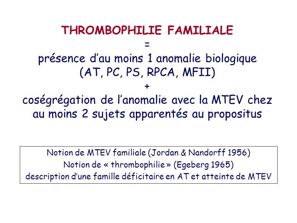 THROMBOPHILIE FAMILIALE = présence d'au moins 1 anomalie biologique (AT, PC, PS, RPCA, MFII) + coségrégation de l'anomalie avec la MTEV chez au moins 2 sujets apparentés au propositus